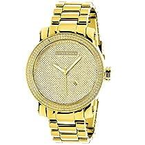 Luxurman Mens Diamond Watch 0.12ct Yellow