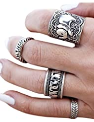 Young & Forever Gratitude Elephant Midi Rings (Set Of 4) For Women By CrazeeMania