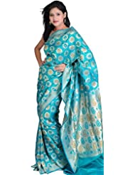 Exotic India Viridian-Green Jamdani Sari From Banaras With Woven Flowers - Green