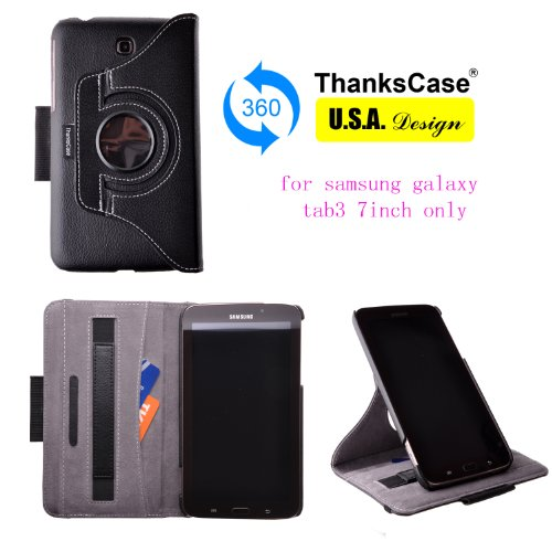Thankscase for Samsung Galaxy Tab 3 7.0 Rotating Case Cover with Pocket with Hand Strap with Stylus Holder,ultra Slim Lightweight Smart Shell Standing Cover Case for Samsung Galaxy Tab 3 7.0 Sm-t210r / Sm-t211.(black)