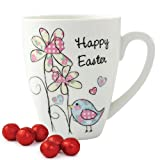 Personalised Daffodil Chick Happy Easter Latte Mug With Chocolate Eggs