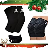 Knee Sleeve Package - Knee Compression Sleeve (1 Pair) & Knee Wrap Pair (1 Pair) with (1 FREE) Knee Patella Strap - Knee Brace & Knee Support for Patella Tendonitis, Jumpers and Runners Knee