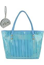 Micom Clear Beach Tote Bags Stripe PVC Swim Shoulder Bag with Interior Pocket with Micom Zipper Pouch