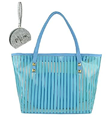 Micom Clear Beach Tote Bags Stripe PVC Swim Shoulder Bag with Interior Pocket with Micom Zipper Pouch
