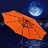 Build-in Solar LED Aluminium Patio Umbrella Light Deck Gazebo Yard Tilt (Orange, 10')