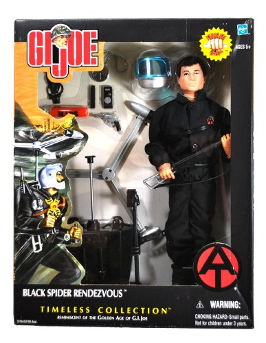 """Hasbro Year 2002 G.I. Joe Timeless Collection """"Reminiscent Of The Golden Age Of Gi Joe"""" Series 12 Inch Tall Kung-Fu Grip Soldier Action Figure - Black Spider Rendezvous With Gi Joe Figure, Helmet With Visor, Map Case, Map, Machine Gun With Removable Clip,"""