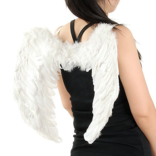 Christmas Halloween Costume Adult Feather Angel Wings in White 23*18 Inch