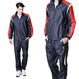 Fuerza Mens Lightweight Track Jacket Pants Built-In Hood Tracksuit - Navy/Red (Medium)