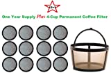 4-Cup Permanent Basket-Style Coffee Filter & a set of 12 Water Filters designed to fit Mr. Coffee 4 Cup Coffeemakers