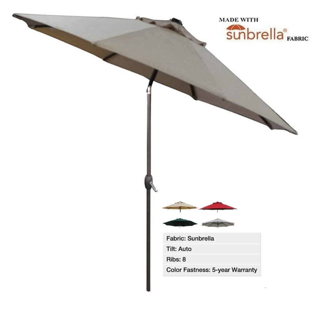 New 9 ft sunbrella patio market umbrella with auto tilt for Patio table umbrella 6 foot