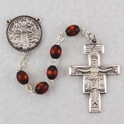 Sterling Silver Brown San Damiano Rosary, Boxed.