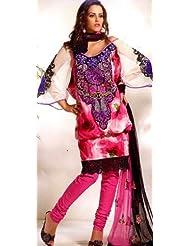 Exotic India Magenta Designer Choodidaar Kameez Suit With Crewel Embro - Magenta