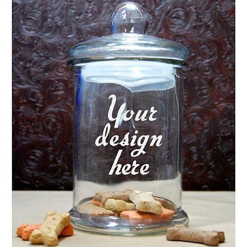 Custom Dog Treat Jar - Glass Etched Personalized Cat Treat Jar - Pet Treat Jar - Large Glass Lid (Personalized Dog Treat Jar compare prices)