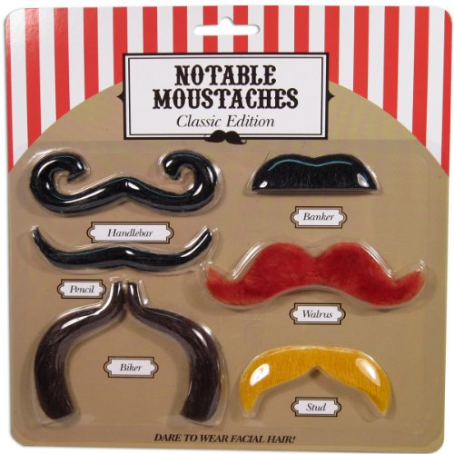 Fake Self Adhesive Costume Disguise Mustache Set of 6 Moustaches