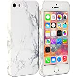 iPhone 5S Case, GMYLE Snap Cover Glossy for iPhone 5 / iPhone 5S - White Marble Pattern Slim Fit Snap On Protective Hard Shell Back Case