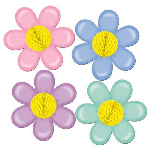Beistle 55412 1-Pack Retro Flowers with Tissue Center, 14-Inch