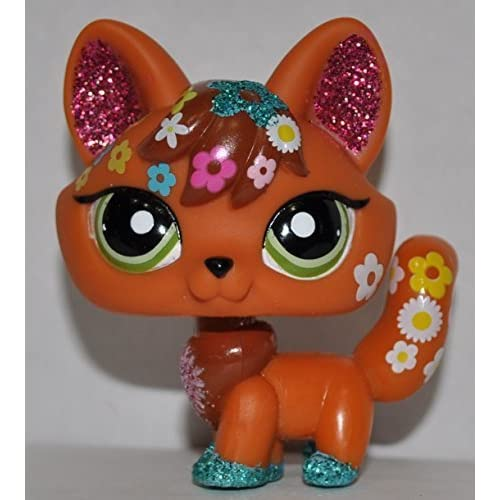 Fox #2341 (Glitter) - Littlest Pet Shop (Retired) Collector Toy - LPS Collectible Replacement Single Figure - Loose (OOP Out of Package & Print) by Hasbro