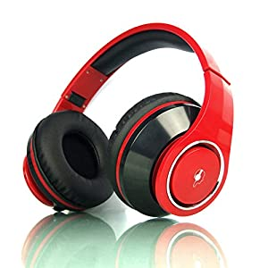 Beteran Senmai HD800 50mm Dynamic Fully Enclosed Adjust Headband Noise Cancelling Deep Bass Monitor Audio Mixing Record DJ Monitor Studio Recording Stereo Over Ear Music Headphone Headset for Mp3 Mp4 Music Player DVD Mobile Phone (Red)