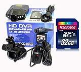 Hamswan® DVR207 HD 720P IR Car Vehicle Dash Camera DVR Rotable 270 Degree Monitor Updated DVR027 1080X1440P + Transcend 32GB Class10 SD Card