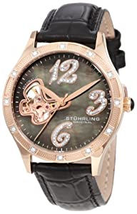 Stuhrling Original Women's 196.124527 Vogue Audrey Diamond Butterfly Automatic Skeleton Leather Strap Watch