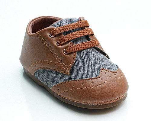 Kuner Baby Boys Brown Pu Leather +Canvas Rubber Sole Outdoor First Walkers Shoes