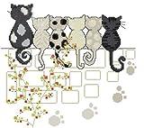 クロスステッチ 刺繍キット love six cats (DMC刺繍糸) k744