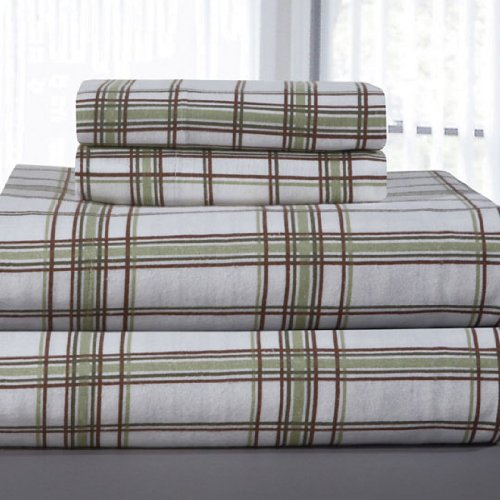 Pointehaven Heavy Weight Printed Flannel Twin Sheet Set, Plaid, Sage front-652585