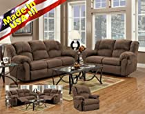 Big Sale Roundhill Furniture Aruba Microfiber Dual Reclining Sofa and Loveseat, Chocolate