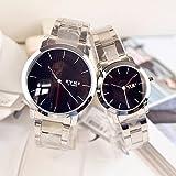 腕時計 時計 ペアウォッチ セット ラウンドフェイス デザイン針 金属ベルト 防水 (ブレスレット セット)