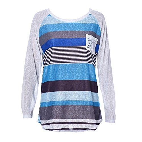 Shirt Tops JUNKE Women Tops Stripes Lace Pocket O-neck Blouse (S, Grey)