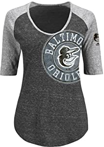 Baltimore Orioles Ladies Majestic Excellence Fashion Top Tri-Blend Shirt by Majestic