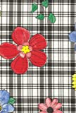 Plaid Flower Flannel Backed Vinyl Tablecloth, Black, 52x52 Square
