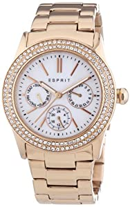 Esprit Peony Women's Quartz Watch with White Dial Analogue Display and Rose Gold Plated Stainless Steel Bracelet ES103822014