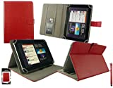 Emartbuy® Black Stylus + Universal Range ( 8 - 9 Inch ) Red Multi Angle Executive Folio Wallet Case Cover With Card Slots Suitable for Argos Bush MyTablet2 8 Inch