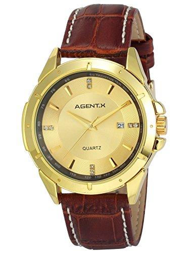 Agent X AGX027 - Orologio da polso da uomo, cinturino in pelle colore marrone