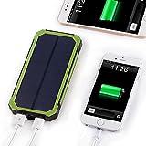 15000 mAh Solar Power Bank, Solar Ladegerät mit Dual USB Schnittstelle, Externe Akku für iPhone, Android-Handys, andere Smartphones sowie elektronische Geräte und auch iPad oder andere Tablet PC (grün) -