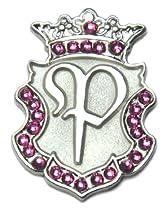 Navika Silver Initial Swarovski Crystal Ball Marker with Matching Royal Crown Hat Clip (P)