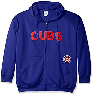 MLB Big and Tall Men's Full Zip Poly Fleece with Wordmark Chest with Logo near Pocket