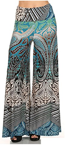 364 Tribal Print, Knit Palazzo Pants With A High Fold-Over Waist And A Wide Leg L