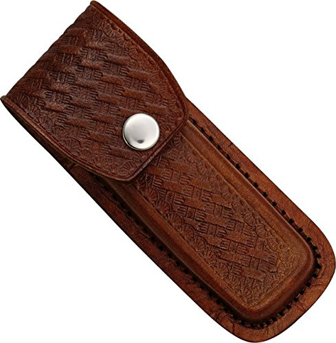 "Sheath Leather Folding Knife Belt Sheath for 4.5in-5.25in Knife, Dark brown SH1093 5"""" DARK BROWN"
