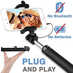 Voxkin Ultra Portable Wired Selfie Stick No Bluetooth Pairing - No Battery Charging Premium & Sturdy Design Best Pocket Sized Cable Monopod - Compatible with iPhone, Android & All SmartPhones