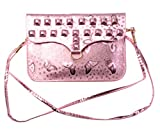 KISS GOLD Bling Surface Rectangle Shape Pu Leather Mini Shoulder Bag Phone Pouch by NYC Leather Factory Outlet