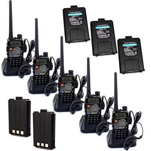Retevis RT-5RV WalkieTalkie UHF+VHF 128CH 5W LCD FM VOX 2Way Radio+2 Pin PTT Mic