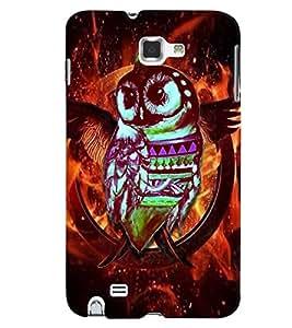 PrintVisa Birds Modern Art Owl 3D Hard Polycarbonate Designer Back Case Cover for Samsung Galaxy Note 2