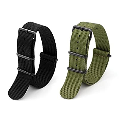2pc 22mm Nato Ss Nylon Striped Black,army Green Interchangeable Replacement Pebble Lg Watch Band