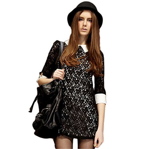 2014 Elf Sack Womens Dress Peter Pan Collar Half Sleeve Lace Sweet Dress Black