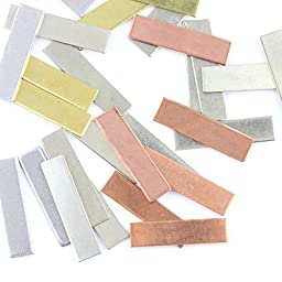Stamping Out Loud .25 inch x 1.50 inch metal rectangles Stamping Blanks Aluminum 14G Qty 100