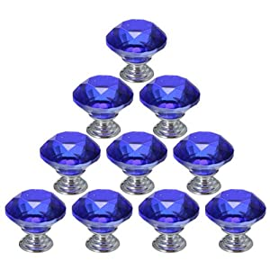 10PCS 30mm Crystal Glass Diamond Shape Cabinet Knob Cupboard Drawer Pull Handle