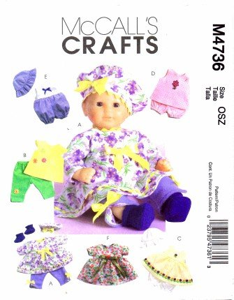 McCall's Patterns M4736 Baby Doll Clothes, All Sizes