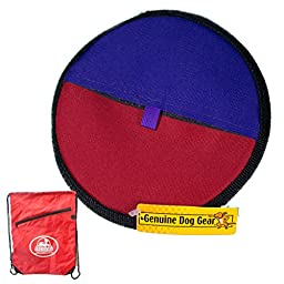 Soft Durable Frisbee-like Flying Disc Dog Toy | Throw Fetch Float Keepaway with Carry Bag ... (Orange Purple -Redbag)